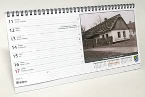 Stolní týdenní kalendář, pracovní, Vysoká nad Labem - strana kalendáře